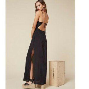 Reformation Cera Black Open Back Maxi Dress 8 Rare